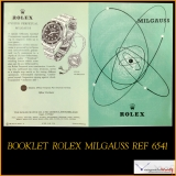 Booklet for Rolex Milgauss 6541 Very Rare ! Stock # 08-PRO