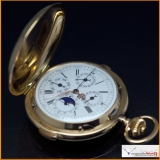 Pocket Watch 14k Solid Gold Quarter Repeater , Chronograph , Moon Phase . Hunting - Cased, with Single Button Chronograph Rare !