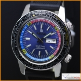 RICOH WORLD TIME MECHANICAL AUTOMATIC DAY&DATE NAVY BLACK DIAL MEN'S WATCH