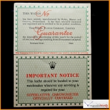 Rolex Blank Guarantee Vintage 1959 & Important Notice Superlative Chronometer officially Certified Stock #02-PRO