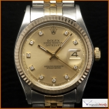 Rolex DateJust 1601 Case Steel 14k Gold Diamond Dial Rare!
