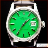 Rolex Date-Just Ref 1601 Case Steel with Bezel 18K White Gold Custom Green Stella Color Dial