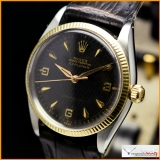 Rolex Explorer Ref 5501 Honeycomb Black Gilt Dial Rare !