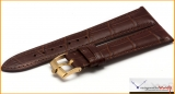 Rolex Leather Strap of Geneva 20mm Brown Color with Gold Plated