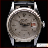 Rolex Oyster Perpetual Date-just Ref 6605 Case Stainless Steel with Bezel 18K White Gold