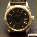 Rolex Date-Just Ref 1601 Case 18K Black Matte Dial Original Rare !